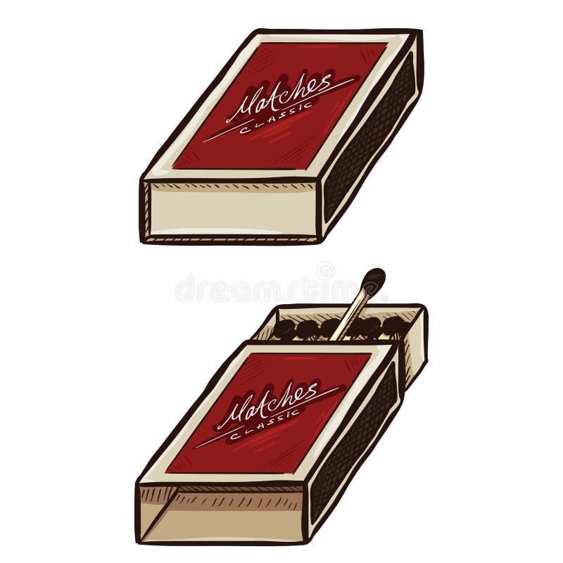Wektorowy Ustawiający Dwa kreskówki Matchboxes otwórz blisko royalty ilustracja