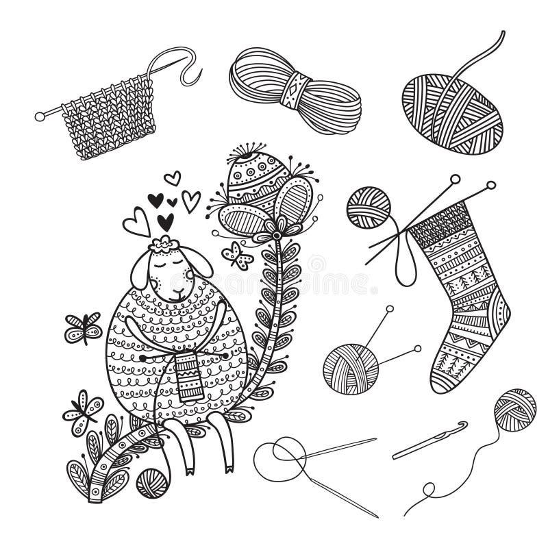Wektorowy ustawiający dziań narzędzia, przędza i śliczni cakle, ilustracji