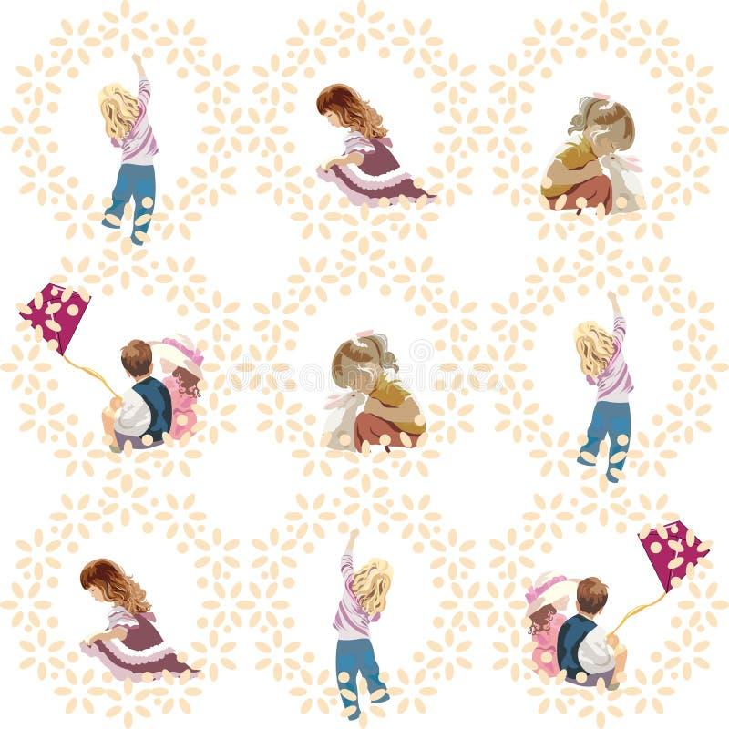 Wektorowy ustawiający dzieci bawić się ilustracji