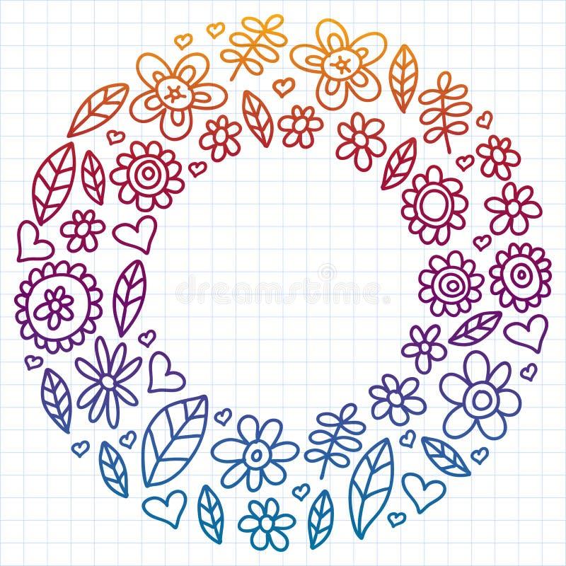 Wektorowy ustawiający dziecko rysunek kwitnie ikony w doodle stylu Malujący, kolorowy, gradientowy, na prześcieradle w kratkę pap ilustracja wektor
