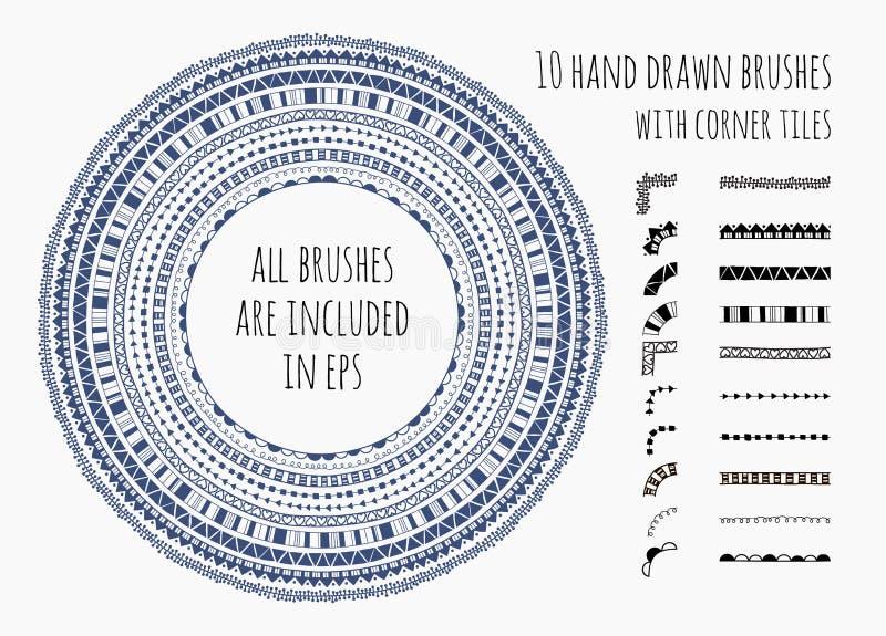Wektorowy ustawiający dziesięć ręki rysujących muśnięć ilustracji