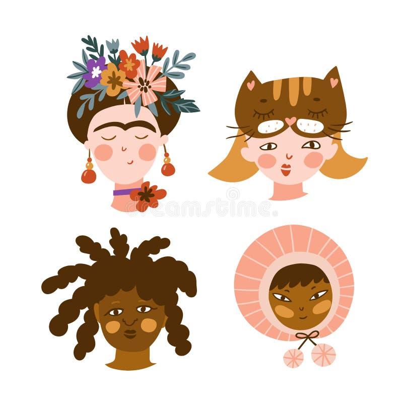 Wektorowy ustawiający dziewczyny różne narodowości i religie śliczni i śmieszni charaktery Kolekcja avatars ilustracja wektor