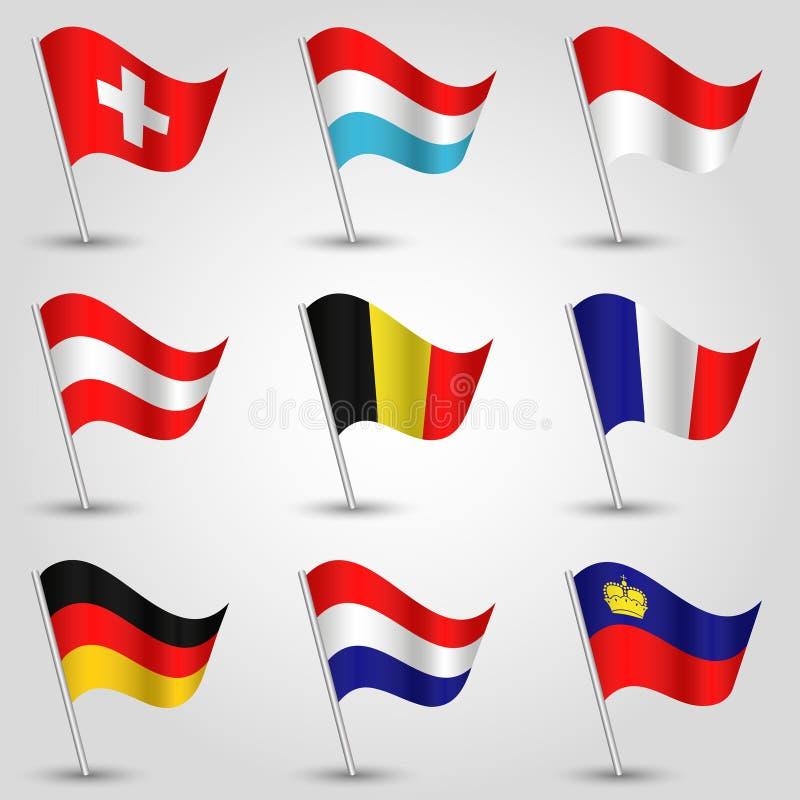 Wektorowy ustawiający dziewięć flaga stanów zachodnia europa ilustracja wektor
