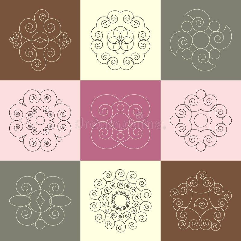 Wektorowy ustawiający dziewięć round ślimaczek spirali kaligraficznych ornamentów ilustracja wektor