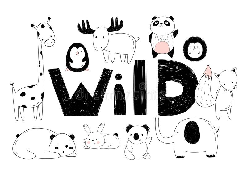 Wektorowy ustawiający dzikie zwierzęta Rysunki ręką Kreskówka zoo 10 przedmiotów, inskrypcja royalty ilustracja