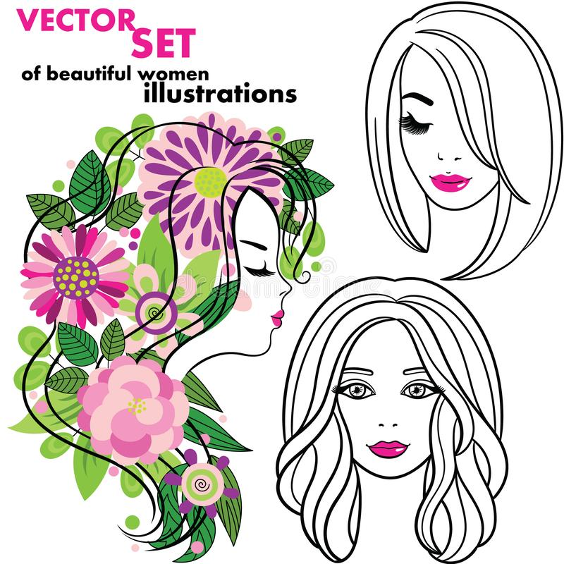 Wektorowy ustawiający eleganckie kreskowej sztuki sylwetki młodą kobietę Jest ilustracja wektor