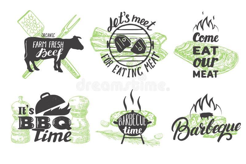 Wektorowy ustawiający emblematy, logo i etykietki rocznika grilla, royalty ilustracja