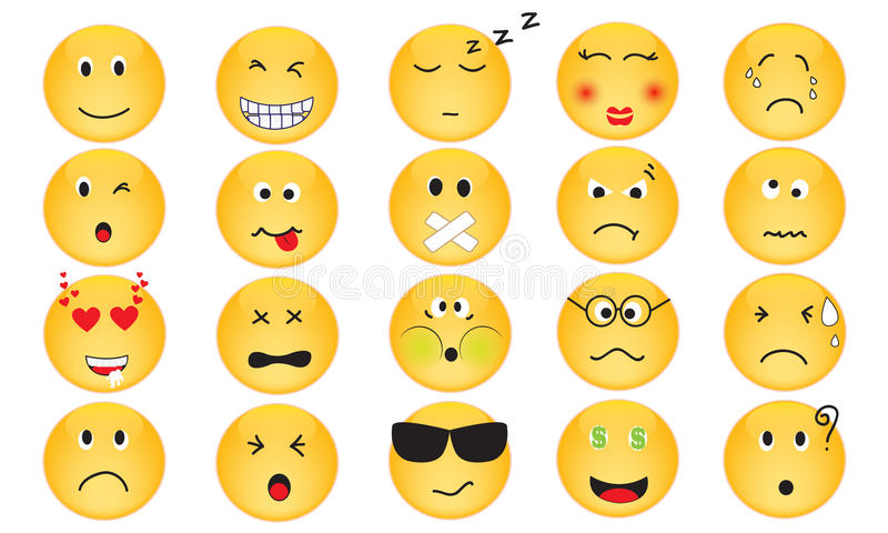 Wektorowy Ustawiający emocj ikony ilustracja wektor