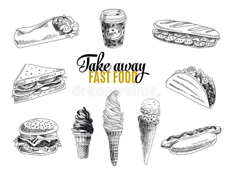 Wektorowy ustawiający fast food Ilustracja w nakreśleniu ilustracja wektor