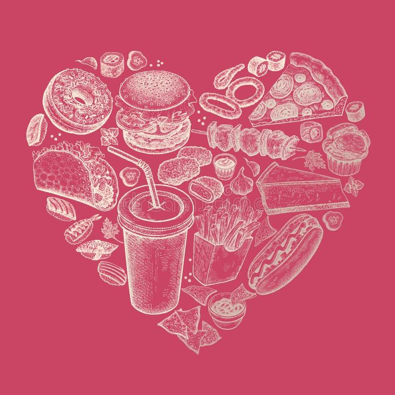 Wektorowy ustawiający fast food w postaci serca ilustracja wektor