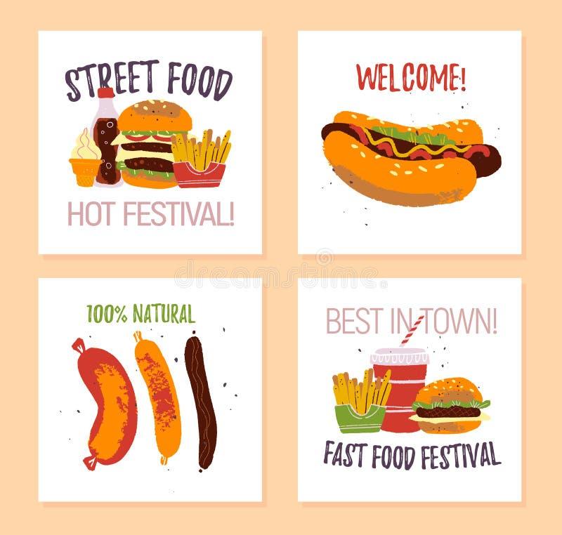 Wektorowy ustawiający fasta food festiwalu plakat, plakat, sztandar, reklama, flayer, karta, majcher z hamburgerem, hot dog, kieł royalty ilustracja