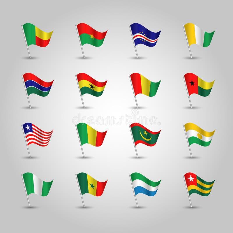 Wektorowy ustawiający flag afryka zachodnia stany na srebnym słupie - ikona państwa afrykańskie royalty ilustracja