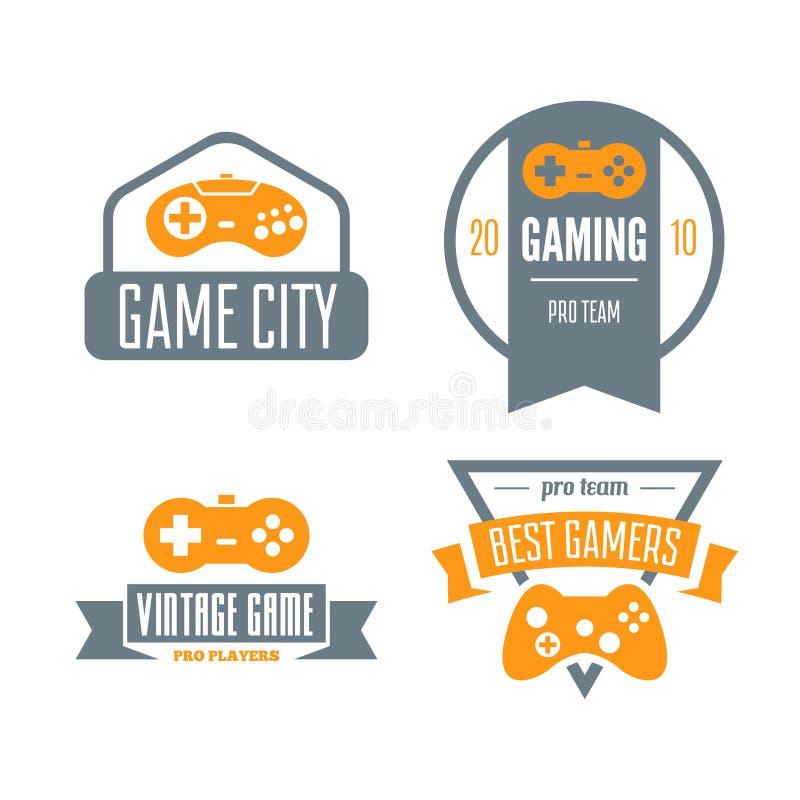 Wektorowy ustawiający gemowy sztuka joystick w rocznika stylu Projektuje elementy, ikony, loga, emblematy i odznaki odizolowywają royalty ilustracja