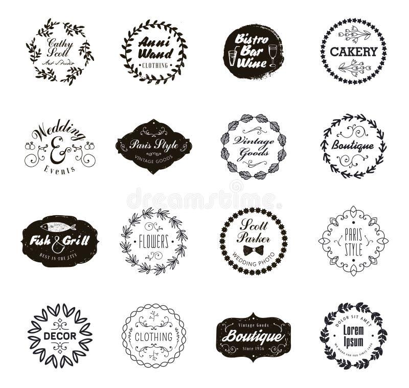 Wektorowy ustawiający geometryczni abstrakcjonistyczni logowie, odznaki Modniś, nowożytny styl Tożsamość dla firmy ilustracja wektor