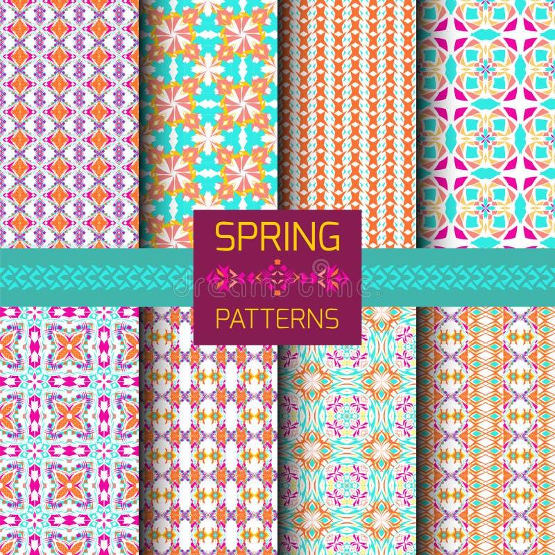 Wektorowy ustawiający geometryczni ornamentacyjni wzory z jaskrawą wiosną barwi Bezszwowa tekstury kolekcja ornament etniczne ilustracja wektor