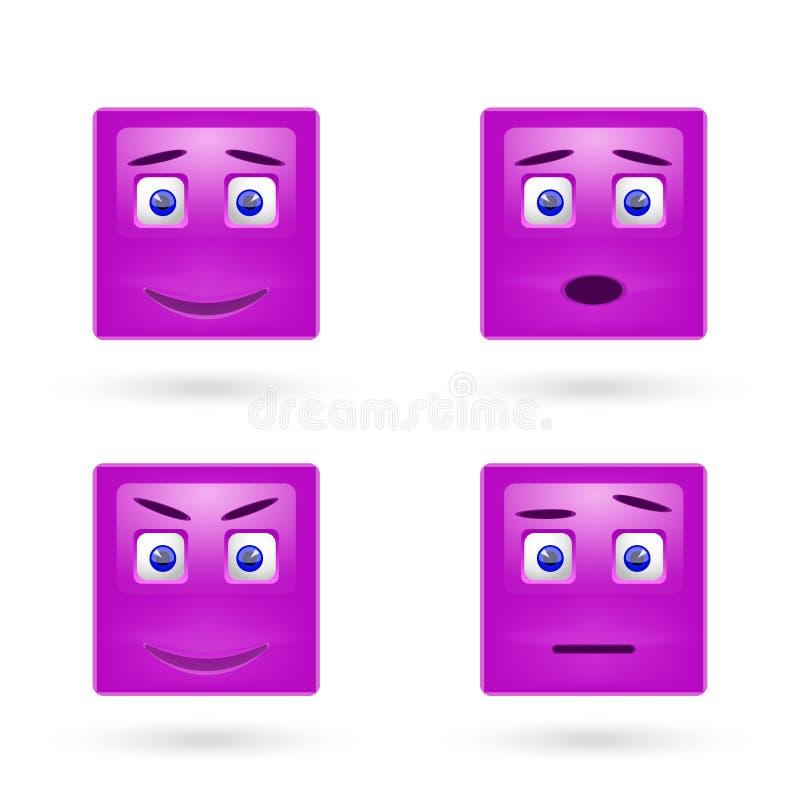 Wektorowy ustawiający glansowani Emoticons royalty ilustracja