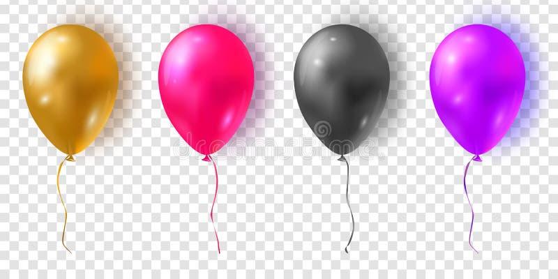 Wektorowy ustawiający glansowani kolorowi balony Realistyczni powietrza 3d balony ilustracja wektor