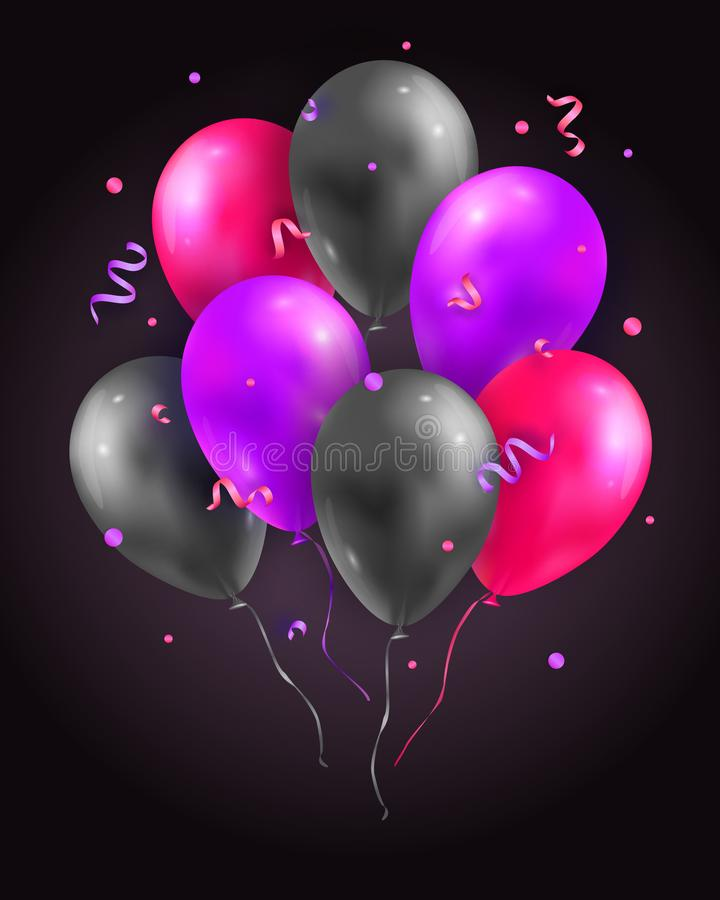 Wektorowy ustawiający glansowany powietrza 3d latanie szybko się zwiększać, faborki i confetti Partyjna dekoracja dla urodziny, r ilustracji