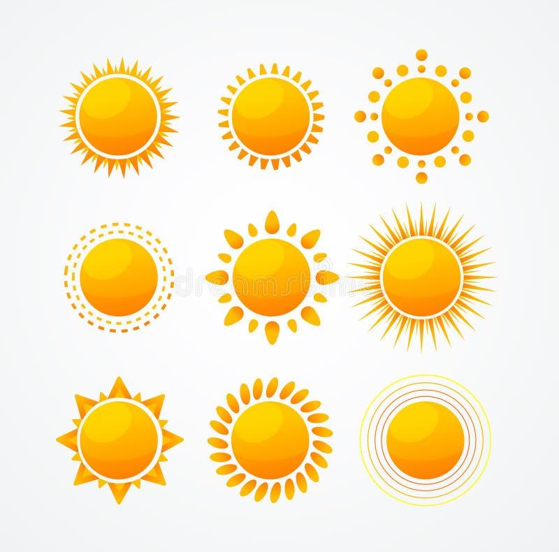 Wektorowy Ustawiający glansowany słońce ikony set royalty ilustracja