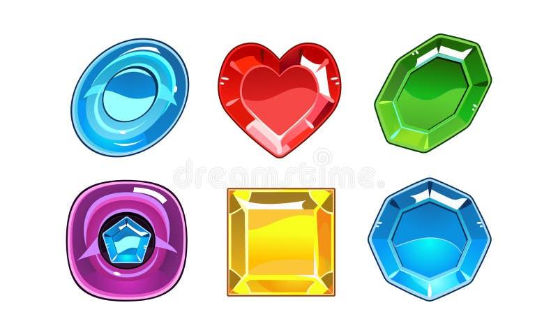 Wektorowy ustawiający 6 glansowanych gemstones różne formy Wartościowi kamienie Elementy dla mobilnej gry ilustracja wektor