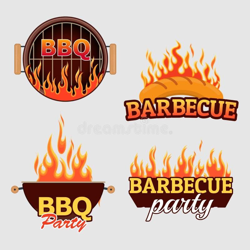 Wektorowy ustawiający grill etykietki i logowie ilustracja wektor