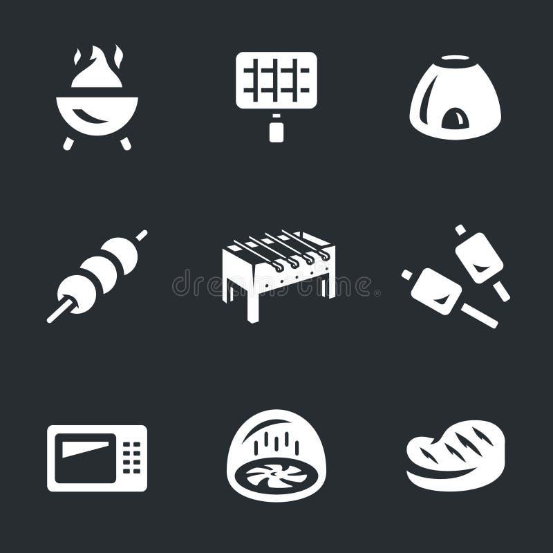 Wektorowy Ustawiający grill ikony royalty ilustracja