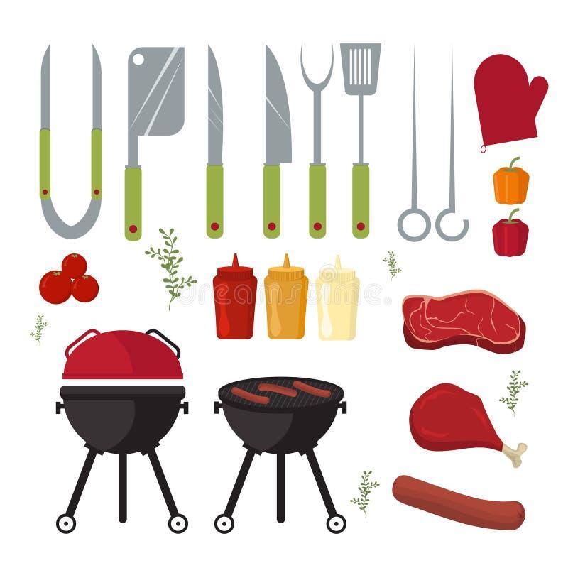 Wektorowy ustawiający grilla i grilla elementy outdoors gotuje gościa restauracji royalty ilustracja