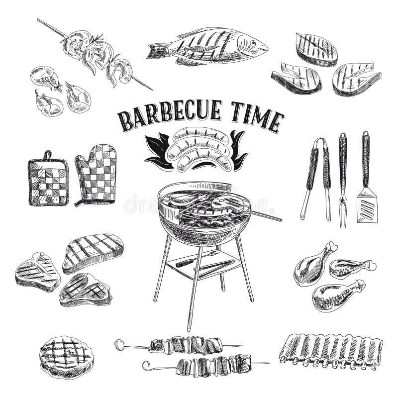 Wektorowy ustawiający grilla i grilla elementy wektor ilustracji