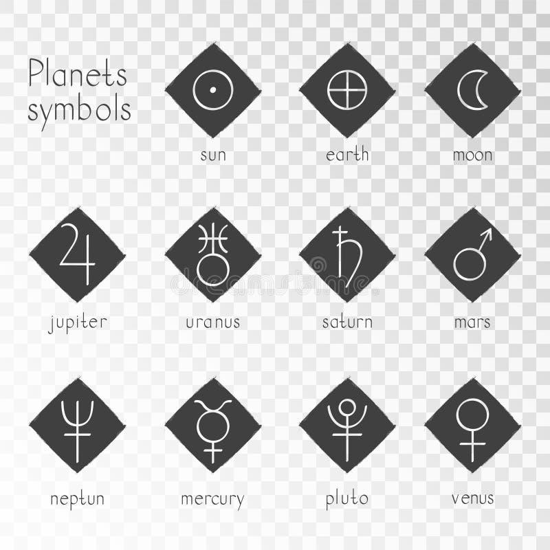 Wektorowy ustawiający grunge ikony z astrologicznymi planeta symbolami ilustracja wektor