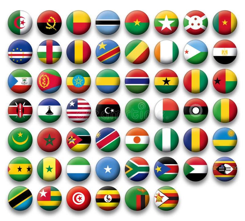 Wektorowy Ustawiający guzik flaga Afryka ilustracji