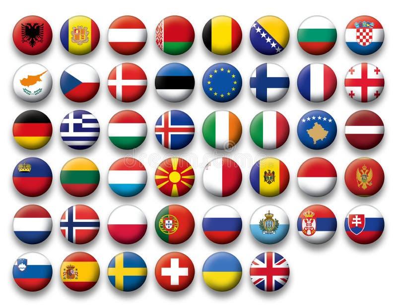 Wektorowy Ustawiający guzik flaga Europa royalty ilustracja