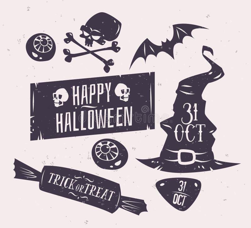 Wektorowy ustawiający Halloween odznaki ilustracja wektor