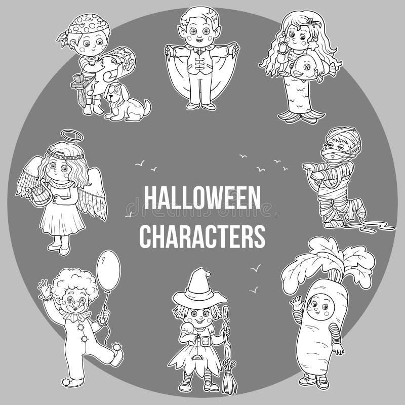Wektorowy ustawiający Halloweenowi śliczni charaktery, kreskówki kolekcja royalty ilustracja