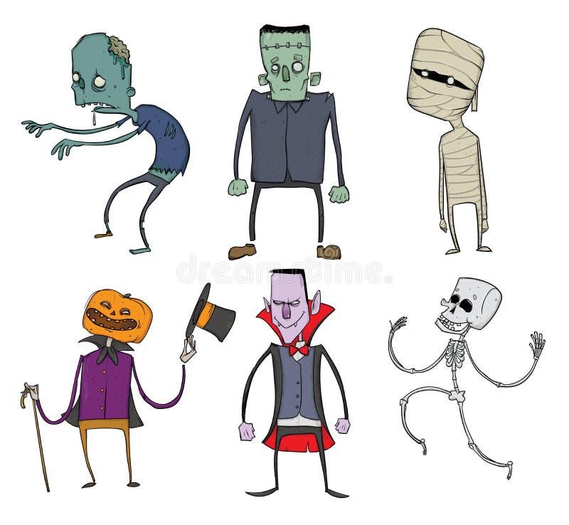 Wektorowy Ustawiający Halloweenowi charaktery Żywy trup, kościec, mamusia, Dracula i inni straszni potwory, Ilustracja, odizolowy ilustracji