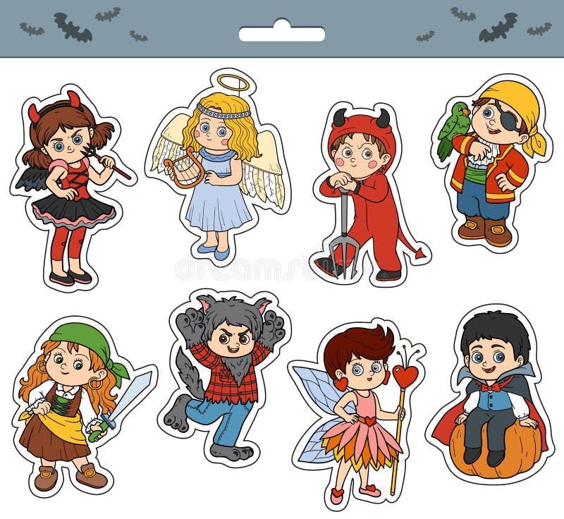 Wektorowy ustawiający Halloweenowi dziecko charaktery royalty ilustracja