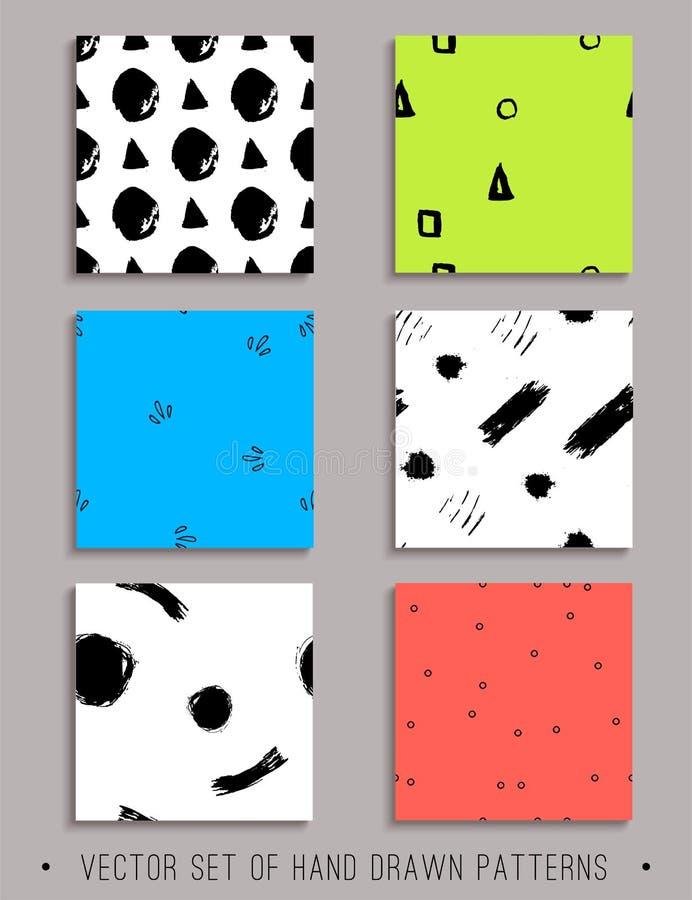 Wektorowy ustawiający 6 handdrawn bezszwowych wzorów obrazy stock