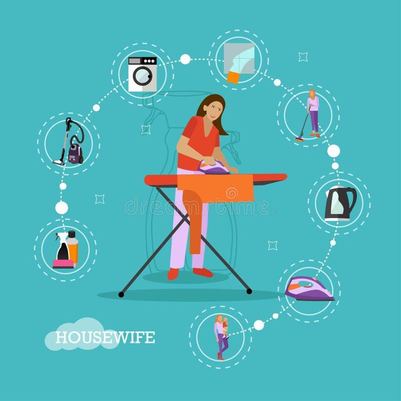 Wektorowy ustawiający housekeeping infographic rzeczy, ikony w mieszkaniu projektuje ilustracja wektor