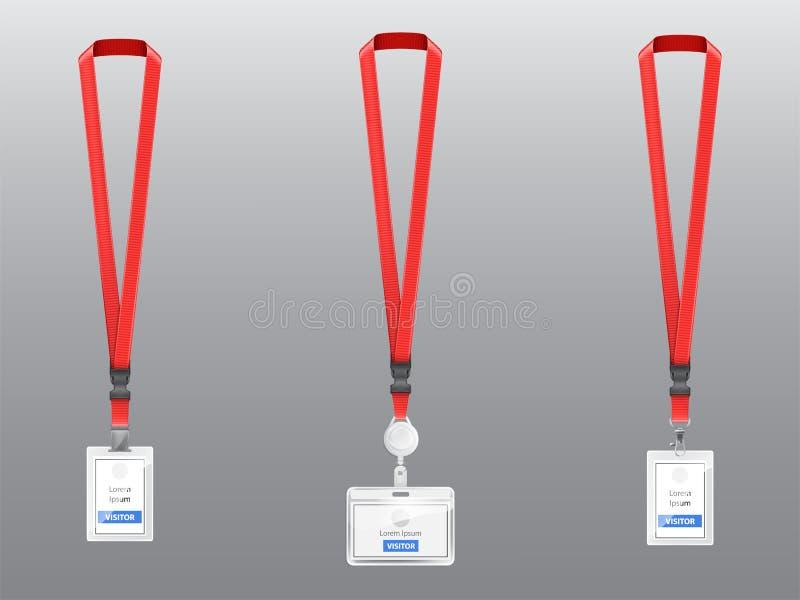 Wektorowy ustawiający ID karty, odznaki z czerwonymi falrepami ilustracja wektor