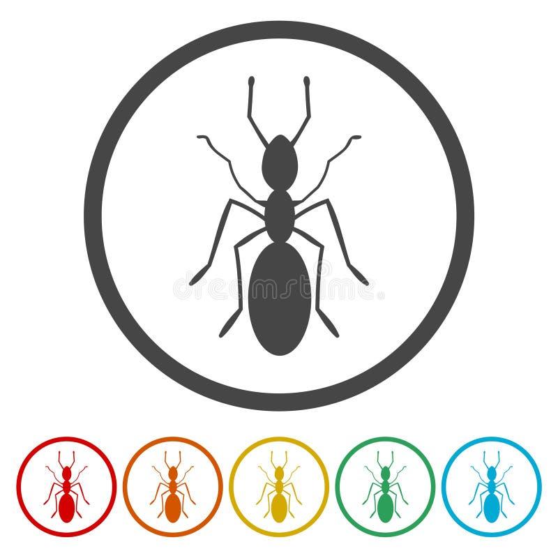 Wektorowy ustawiający ikon mrówki ilustracji
