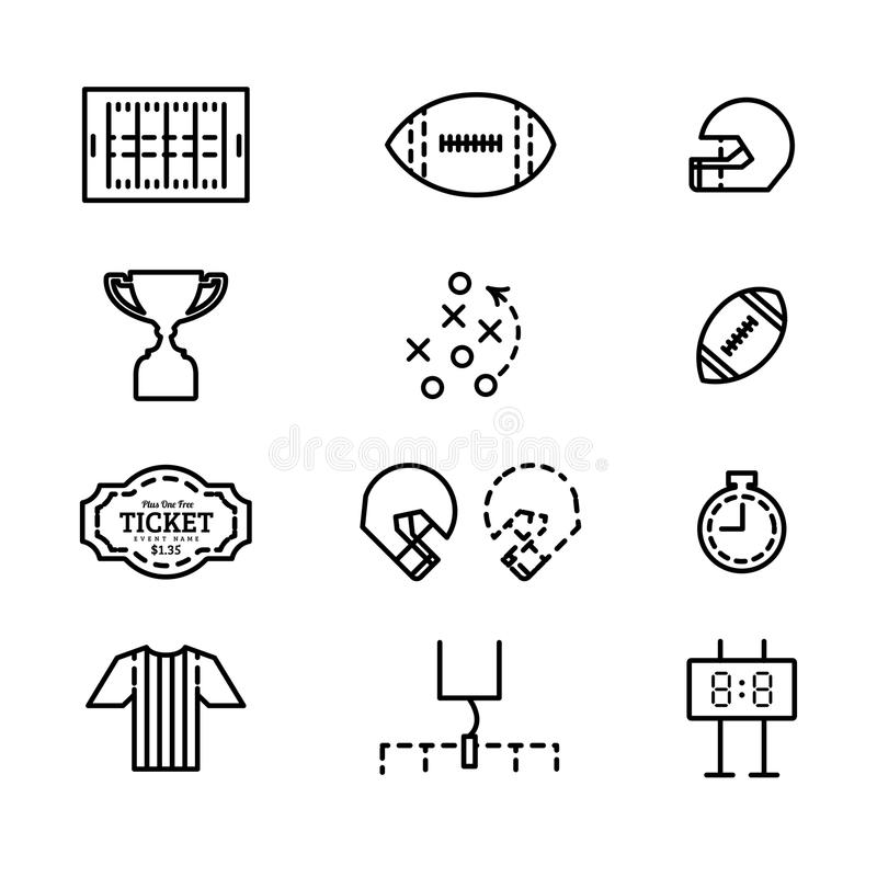 Wektorowy ustawiający ikony dla futbolu amerykańskiego royalty ilustracja