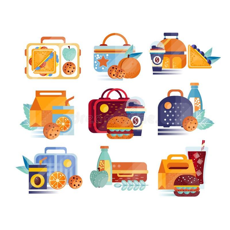 Wektorowy ustawiający ikony z lunch torbami z i pudełkami jedzeniem i napojami Hamburgery, kanapki, ciastka, sok, kawa ilustracja wektor
