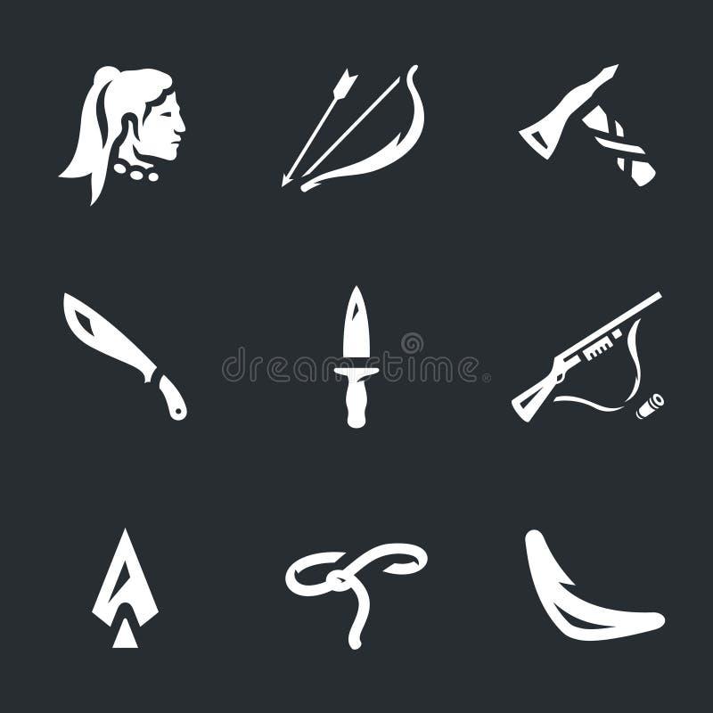 Wektorowy Ustawiający indianin broni ikony ilustracji