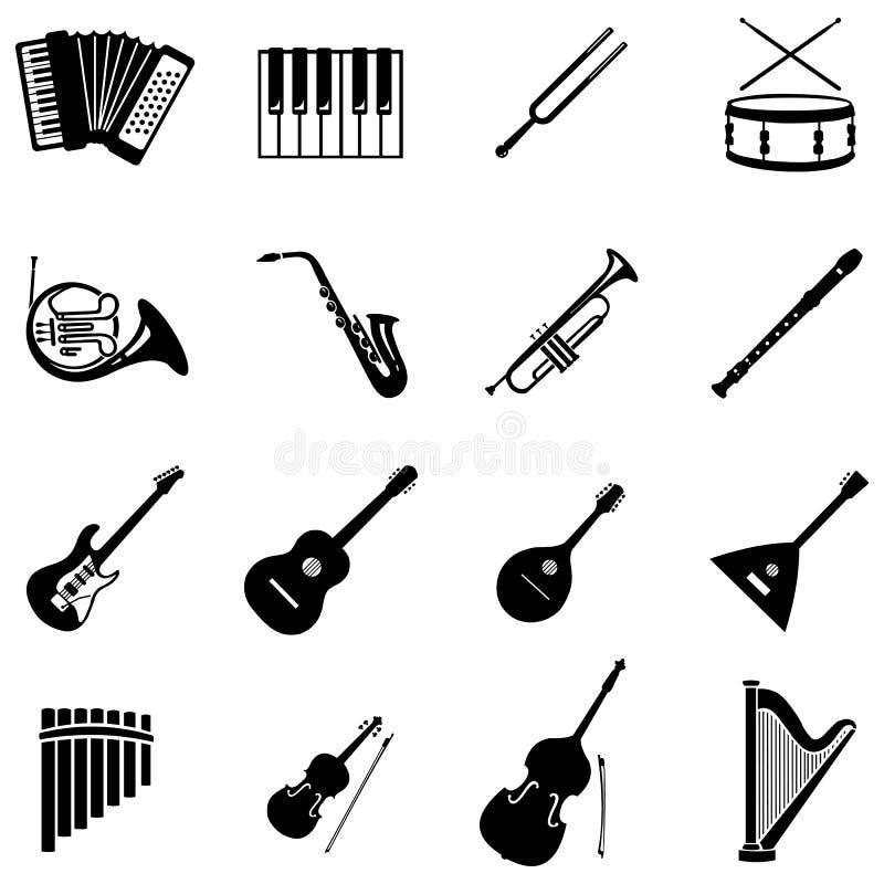 Wektorowy ustawiający 16 instrumentów muzycznych ikon ilustracja wektor