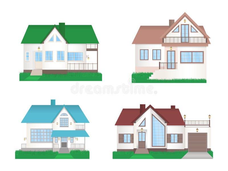 Wektorowy ustawiający intymni kolorowi domy z trawą ilustracja wektor