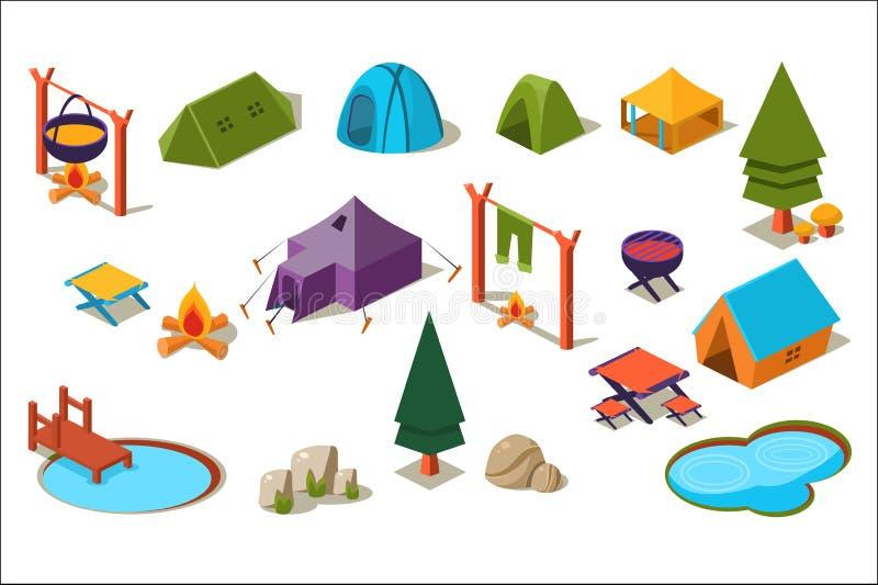 Wektorowy ustawiający isometric ikony dla obozować Aktywny odtwarzanie Lasowi elementów drzewa, kamienie, jeziora, różnorodni nam ilustracji