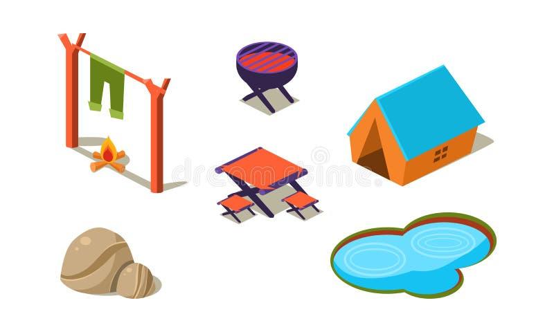 Wektorowy ustawiający isometric ikony dla obozować Namiot, mały jezioro, kamienie, stół, krzesła, grill i ognisko, aktywny lato ilustracja wektor