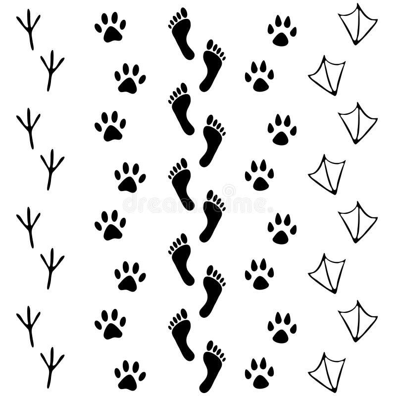 Wektorowy ustawiający istota ludzka i zwierzę, ptasia odcisk stopy ikona Kolekcja nagi ludzki foots, kot, pies, ptak, kurczak, ob ilustracji