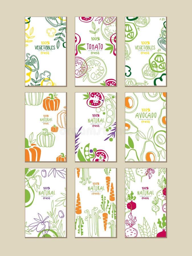 Wektorowy ustawiający jaskrawe pionowo karty z świeżymi warzywami Organicznie rolny jedzenie Jarski odżywianie Ręka rysujący proj ilustracja wektor