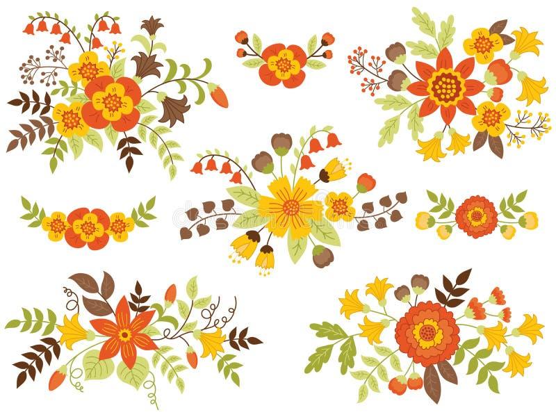 Wektorowy Ustawiający jesień Kwieciści bukiety ilustracji