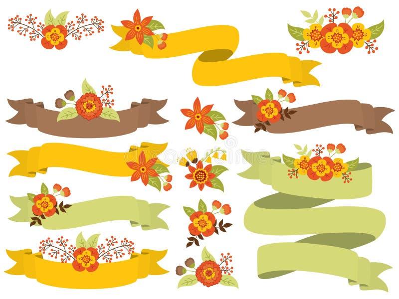 Wektorowy Ustawiający jesień Kwieciści faborki royalty ilustracja
